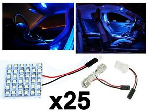 25x T10 Festoon 36 smd Ultra Blue Led Panel Interior Dome Map Replacement Light