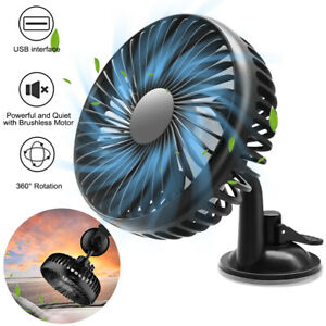 12v Car Fan Portable Usb Vehicle Truck 360 Rotatable Auto Cooling Cooler Fan Us