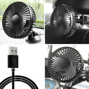 Car Fan Portable Usb 12v Vehicle Suction Cup Rotatable Auto Cooling Cooler Fan