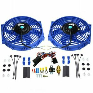2pcs 10 Blue Electric Radiator Cooling Fan W Thermostat Relay