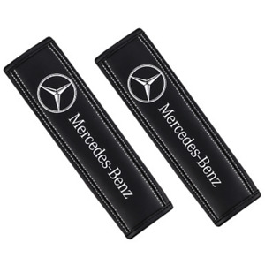 2pcs Genuine Leather Car Seat Belt Shoulder Pads Covers For Mercedes Benz