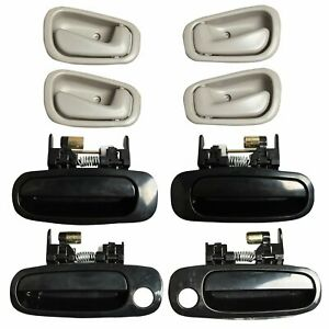 Outside Inside Door Handle Black Gray Fits For 98 02 Toyota Corolla 8 Set