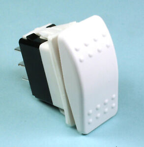 Momentary White Rocker Switch Dpdt replaces Carling 20a 12vdc on off on