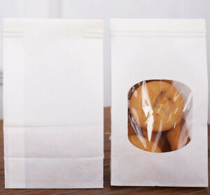 Bagdream Bakery Bags With Window Kraft Paper Bags 50pcs 3 54x2 36x6 7 White