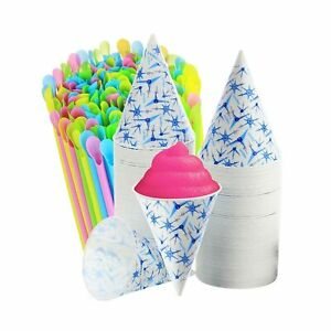 400 200 Snow Cone Cups 6 Oz 200 Sno cone Spoon Drinking Straws Neon Colors