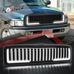 Led Drl Vertical Fence Abs Plastic Front Bumper Hood Grille For 94 02 Dodge Ram
