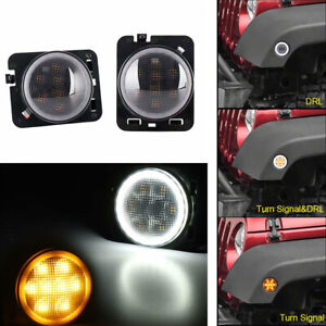 1pair Front Fender Led Turn Signal Light Drl With Halo Ring For Jeep Wrangler Jk