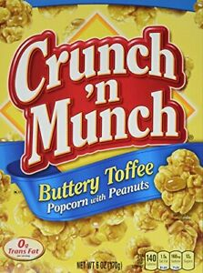 Crunch N Munch Buttery Toffee Popcorn Peanut Snack 6oz Box pack Of 3