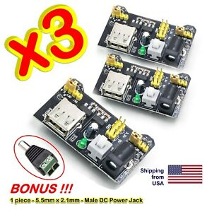3x Mb102 Breadboard Dual Power Supply Module 3 3v And 5v For Arduino Bread Board