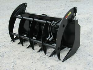 66 Brush Root Rake Clam Grapple Attachment Fits Skid Steer Tractor Quick Attach
