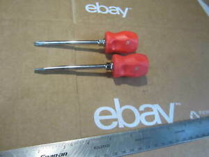 Snap on Tools 4 Stubby Red 2 Phillips 1 4 Straight Flat Screwdriver Set