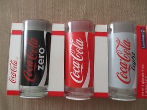 2010 Coca Cola 9oz Glass Set 3pc from France-MINT IN BOX!