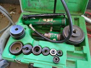 Greenlee Hydraulic Knock Out Set With All Sizes And Extra Pump W case And