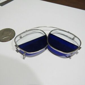 Vintage Welding Clip On Glasses Dark Blue Tent H C 5