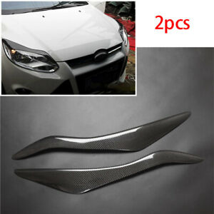 Fit For Ford Focus 2012 2014 Carbon Fiber Front Headlight Lamp Eyebrow Trim 2pcs