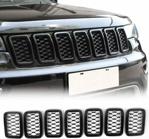 Grille Inserts Mesh Honeycomb Grill Cover Trim For 2017 2019 Jeep Grand Cherokee