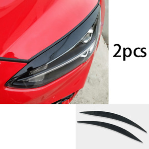 Fit For Ford Focus 2019 2020 Black Abs Front Headlight Lamp Eyebrow Trim 2pcs