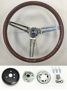 Ford Bronco Ranchero F100 High Gloss Wood Steering Wheel 15 Polished Spokes