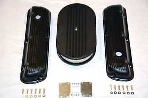 Black Sbf Ford 289 302 351w Finned Aluminum Valve Covers 15 Air Cleaner Kit
