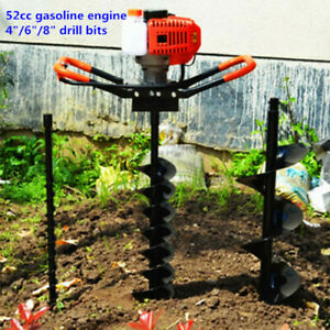 52cc Gas Powered Post Hole Digger Earth Auger W 3 Bits 12 extension Bar