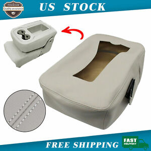 For 07 13 Gmc Silverado Leather Armrest Console Jump Seat Cover Top Gray