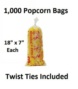 1000 Clear Plastic Popcorn Bags With Twist Ties 18 X 7