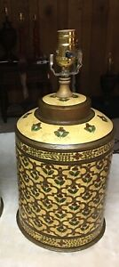 Hand Painted Tole Iron Tea Caddy Lamp Yellow