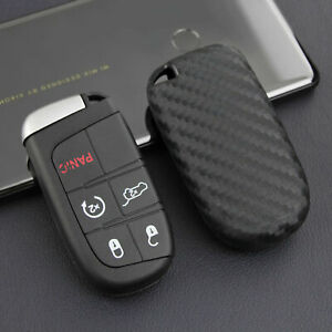 Carbon Fiber Car Key Fob Case Cover Keychain Accessories For Jeep Dodge Chrysler