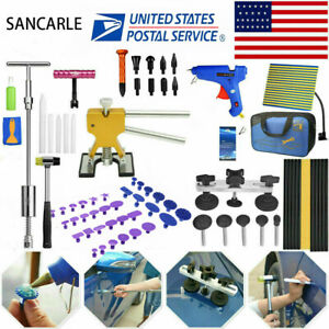 Us Paintless Dent Removal Puller Lifter Dent Tool Line Board Repair Hammer Kit