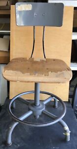 Vintage Metal And Hardwood Drafting Stool Steam Punk Industrial