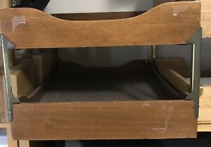 Vintage All Original 2 Tier Hardwood Paper Letter Trays Not Restored