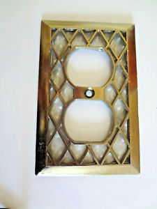Vintage Edmar Brass Outlet Cover Plate Diamond Grid Mother Of Pearl Midcentury