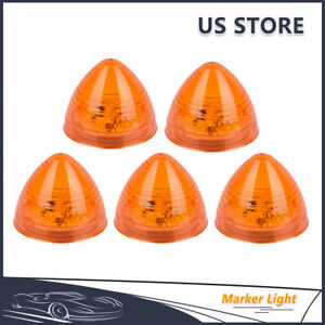 5pcs Amber 2 Round 9 Led Cab Top Roof Lights Truck Clearance Side Marker Light