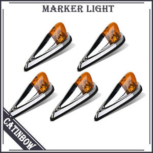 5pcs Truck Trailer Amber Roof Cab Marker Light Running Clearance Lamps Universal