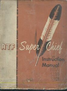 1960 Atf American Type Founders Super Chief Offset Print Press Instruction Book