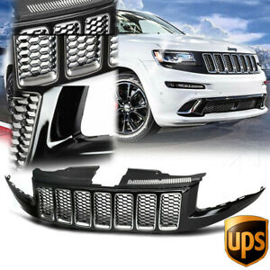 Glossy Black Srt Srt8 Style Honeycomb Mesh Grille Grill For 14 16 Grand Cherokee