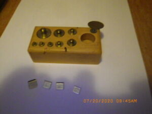 Vintage Brass Scale Weights Balance Grams Apothecary Scientific 100mg To 50g