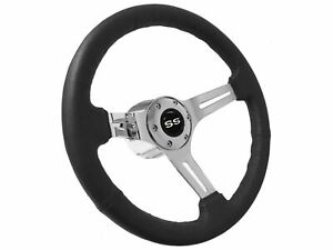 1969 1994 Chevy S6 Black Leather Steering Wheel Kit White Ss