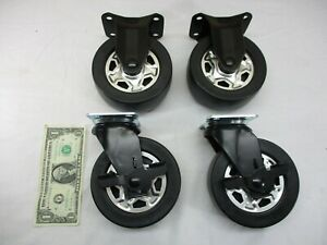 Industrial 5 Black Rubber Casters Cart Wheels Set Of 4 Swivel Brakes New