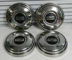 4 68 74 Ford Dog Dish Hubcaps 9 3 4 Center Caps Fairlane Galaxie Excellent Cond