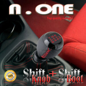 Blk Chrome 6 Speed Mt Shift Knob Red Stitch Boot Cover Chevy K1500 90 96 97 98