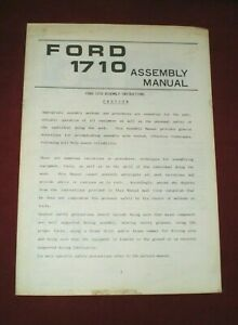 Ford 1710 Tractor Assembly Manual Free Shipping