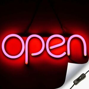 Led Neon Open Sign Light For Business With On Off Switch Red