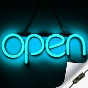 Led Neon Open Sign Light For Business With On Off Switch Ice Blue