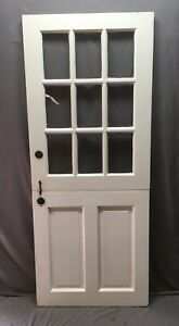 Vtg Solid Wood Dutch Door 9 Lite 32x78 Shabby Cottage Entryway Old 494 20e