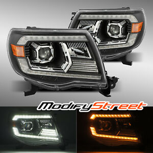 Black Projector Headlights Assembly For 2005 2011 Toyota Tacoma