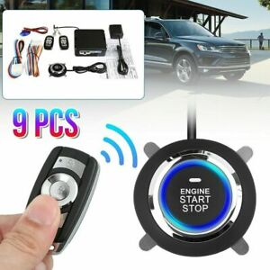 9pcs Keyless Entry Engine Start Car Alarm System Push Button Remote Starter Stop