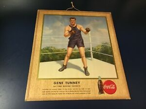 original 1947 GENE TUNNEY BOXER COCA-COLA ADVERTISING SIGN w HANG TAG ON BACK!!!