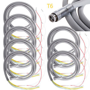 8x Silicone Dental Tube Hose 6 Holes For Fiber Optic Led Air Turbine Handpiece