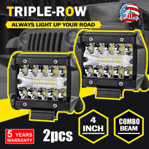 Led Driving Work Lights 4 Inch Bar Flood Spot 580w Combo Offroad Lamp Car Truck